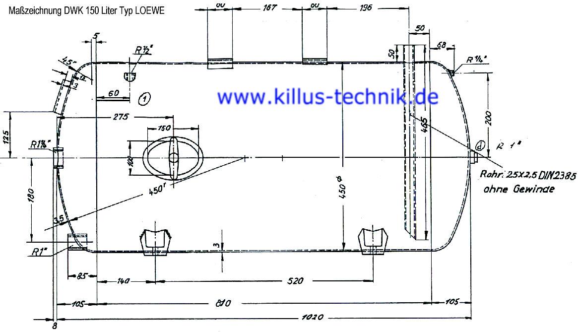 Maßzeichnung Druckwasserkessel 150 Liter Typ Grundfos LOEWE Killus-Technik.de