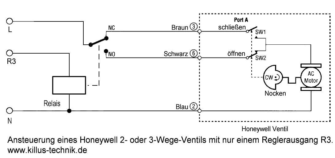 Honeywell Motorventil EPU Antrieb Ansteuerung mit Relais über Regler mit nur einem Ausgang Killus-Technik.de