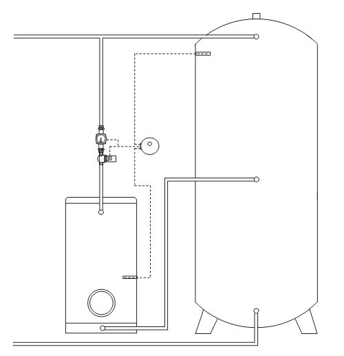 Anschluss Boiler Ladeset ATMOS für Warmwasserbereitung aus Pufferspeicher Killus-Technik.de
