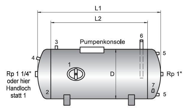 Druckwasserkessel liegend Typ LOEWE Maße Killus-Technik.de