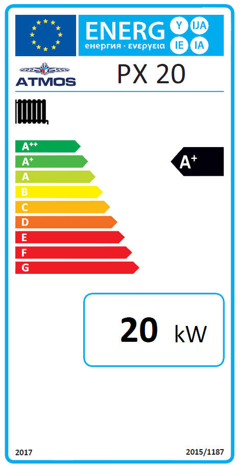 ATMOS Pelletkessel PX 20 Energielabel Killus-Technik.de