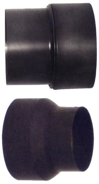 Rauchrohr Erweiterung und Reduzierung 2 mm Stahl, schwarz, pulverbeschichtet Killus-Technik.de