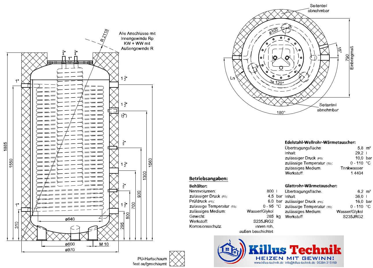 TWL Pufferspeicher 2 Wärmetauscher Killus-Technik.de