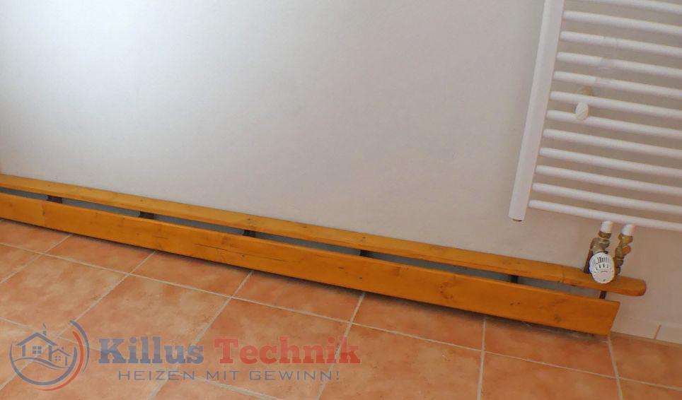 Ekowand Heizleisten für bestes Wohnklima und Heizkosten sparen Killus-Technik.de Heizleisten in einem Badezimmer