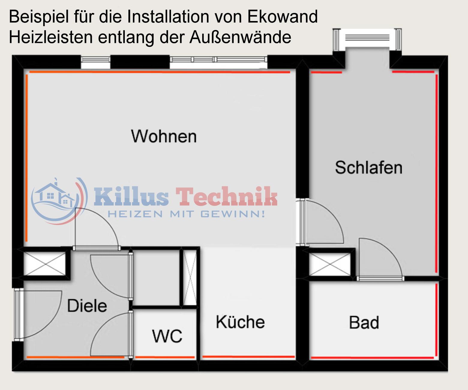 Ekowand Heizleisten für bestes Wohnklima und Heizkosten sparen Killus-Technik.de Heizleisten in einem Bauplan eingezeichnet