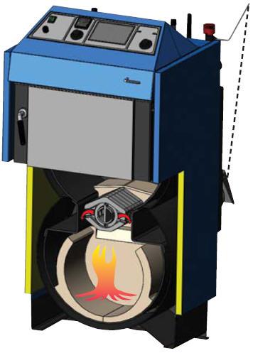 Schnitt durch den ATMOS Kohlevergaser KC25S Kessel Steinkohle Brikett Killus-Technik.de