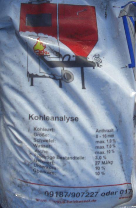 Plastiksack mit 25 kg Anthrazitkohle (Steinkohle) für Markus Heizkessel Inhaltsangabe Killus-Technik.de