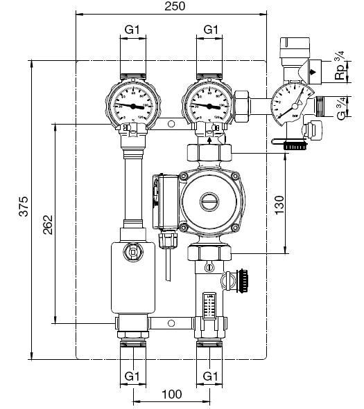 Solarstation Regusol L130 Oventrop Maßzeichnung Killus-Technik.de