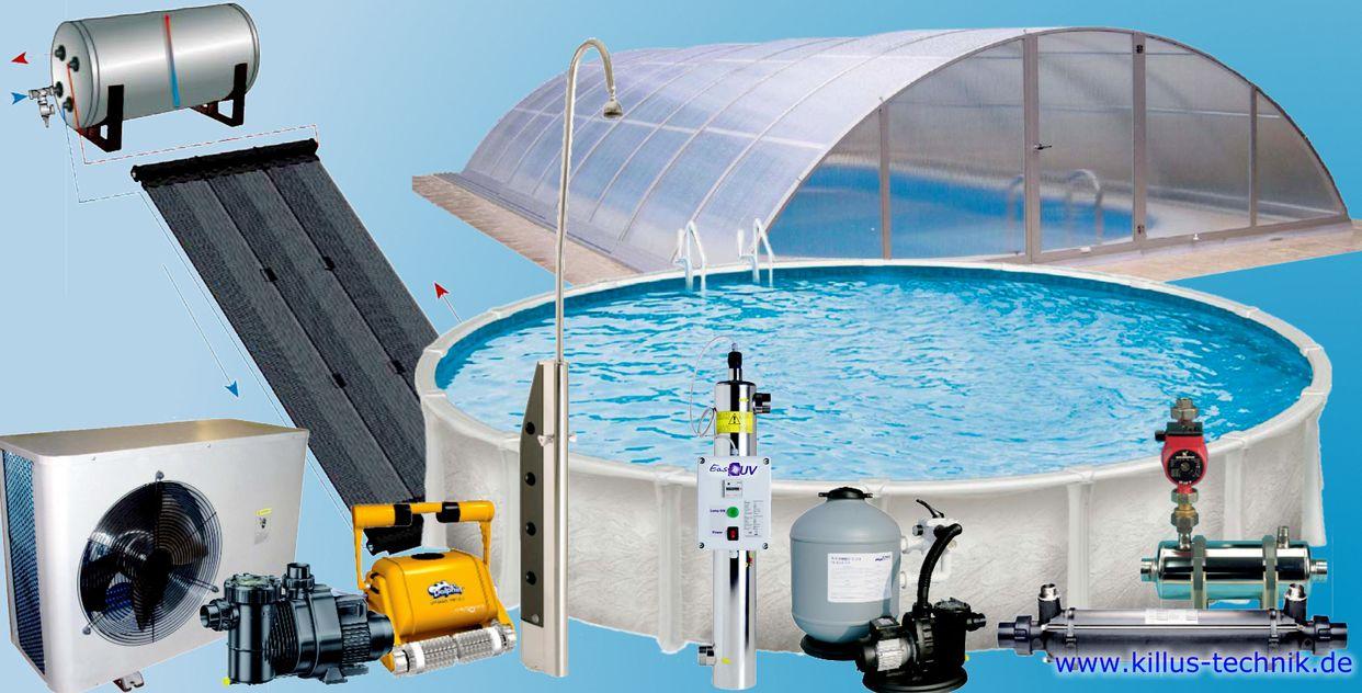 Schwimmbad Angebote Killus-Technik.de Schwimmbadtechnik Pumpen Solarkollektoren Schwimmhallen Pools Filter
