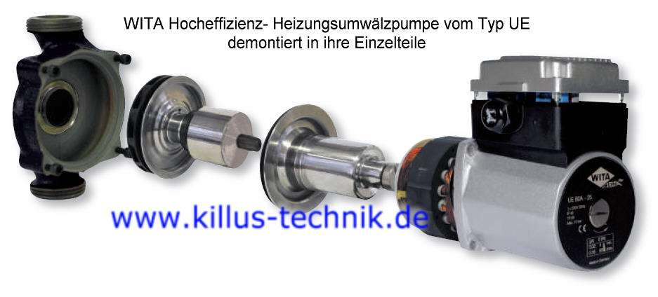WITA Heizungsumwälzpumpe UE zerlegt in Einzelteile Killus-Technik.de