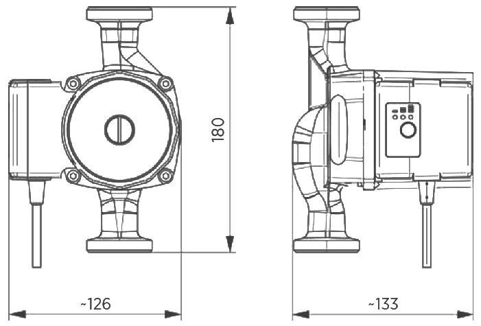 WITA Hocheffizienz-Heizungsumwälzpumpe UE70A und UE75A 180 mm Abmessungen Killus-Technik.de