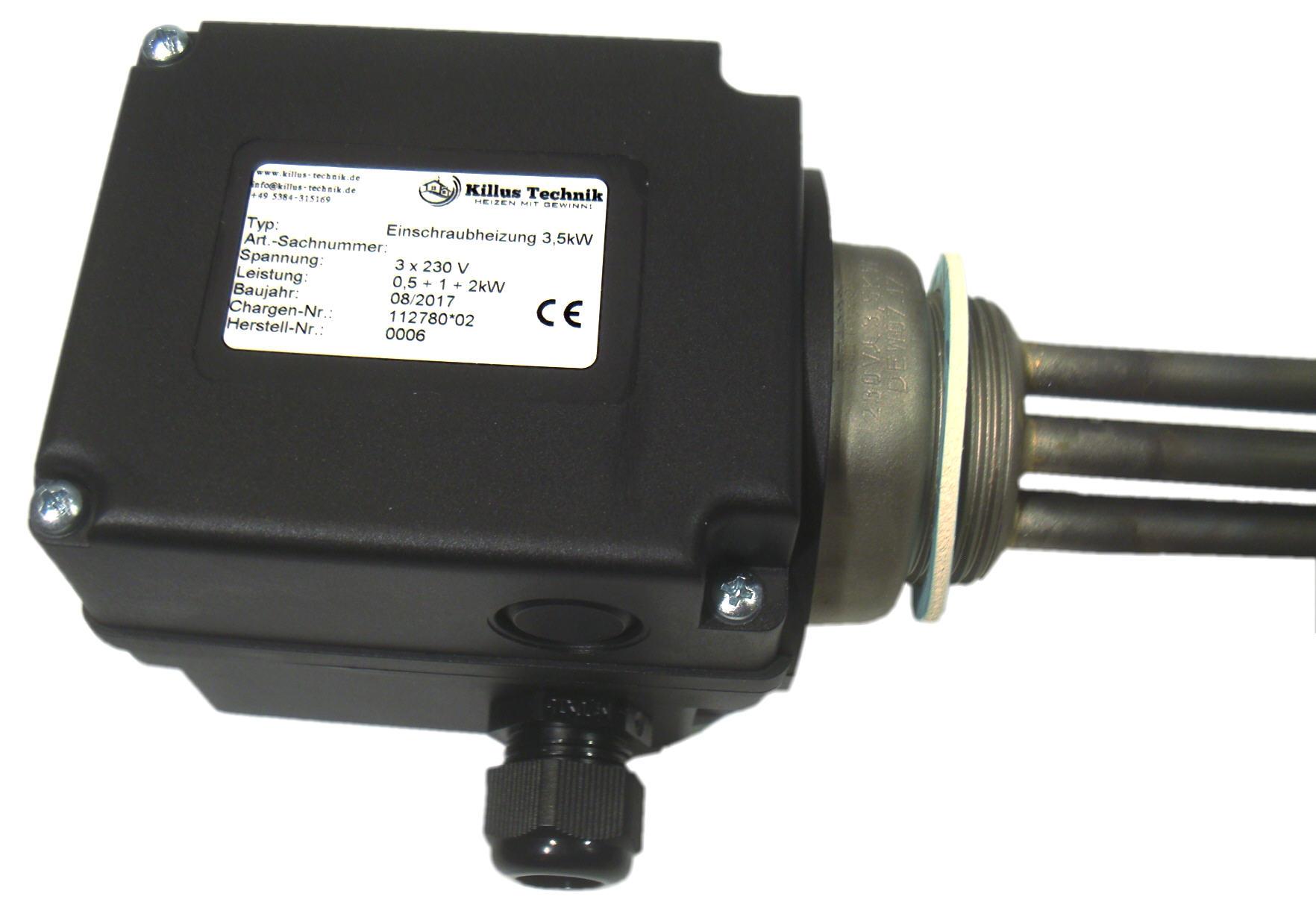 Vario-Heizer-PV variabler Elektroheizstab 0,5 - 3,5 kW Anschlußkasten Edelstahl für Photovoltaik und Heizungen Killus-Technik.de