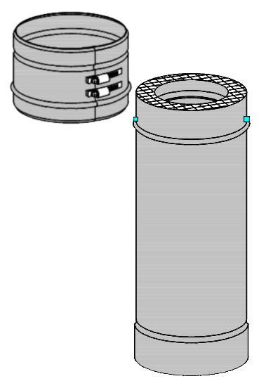 D1 doppelwandiges Edelstahl Abgassystem Längenelement mit Klemmband