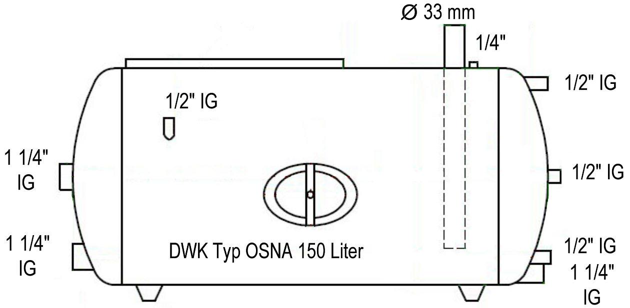 Druckwasserkessel 150 Typ OSNA Maßzeichnung liegend Killus-Technik.de