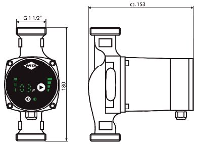 WITA Heizungsumwälzpumpe U25-U35-Maßzeichnungen Killus-Technik.de