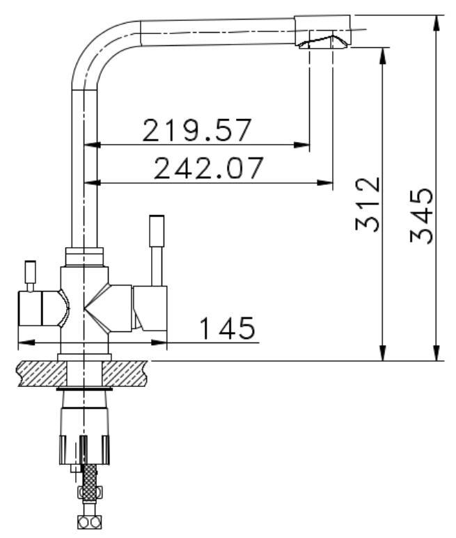 3-Wege Wasserhahn aus Edelstahl für Umkehr-Osmoseanlagen Wasserfilter Killus-Technik.de