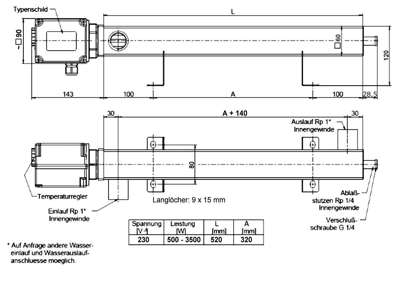 Zeichnung mit Abmessungen DEW-Durchlauferhitzer für PV-Anlagen Killus-Technik.de