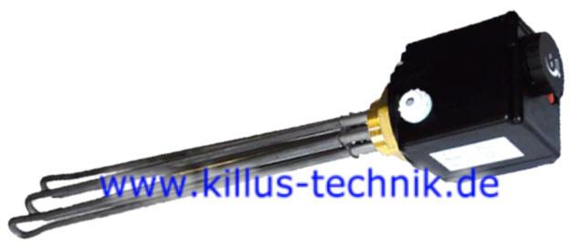 Elektroheizstab für Pufferspeicher mit Temperaturregelung und STB Killus-Technik.de