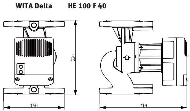 WITA Heizungs-Umwälzpumpe HE 100 10 m Flanschanschluß technische Zeichnung Abmessungen Killus-Technik.de