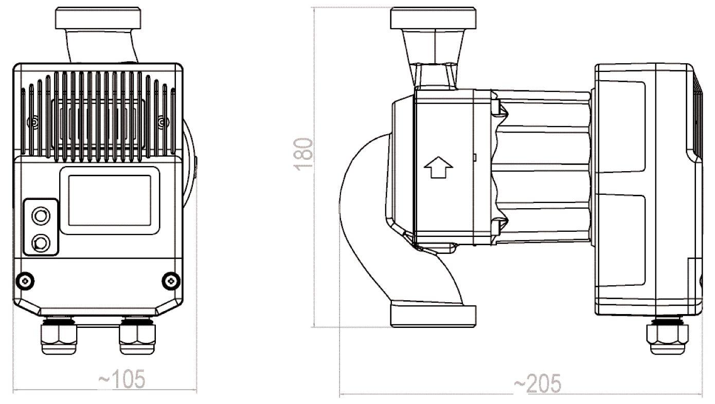 WITA Heizungs-Umwälzpumpe HE 120 12 m Gewindeanschluß technische Zeichnung Abmessungen Killus-Technik.de