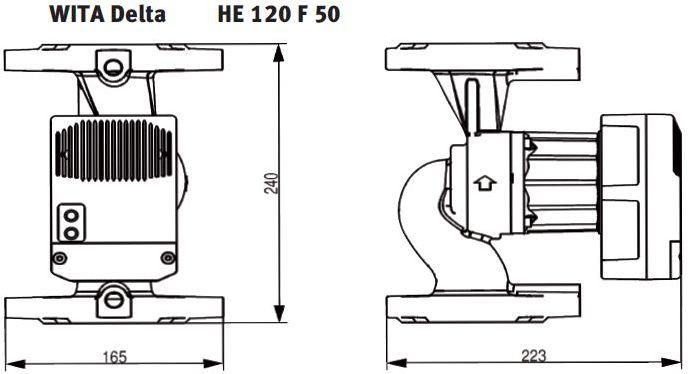 WITA Heizungs-Umwälzpumpe HE 120 12 m Flanschanschluß technische Zeichnung Abmessungen Killus-Technik.de