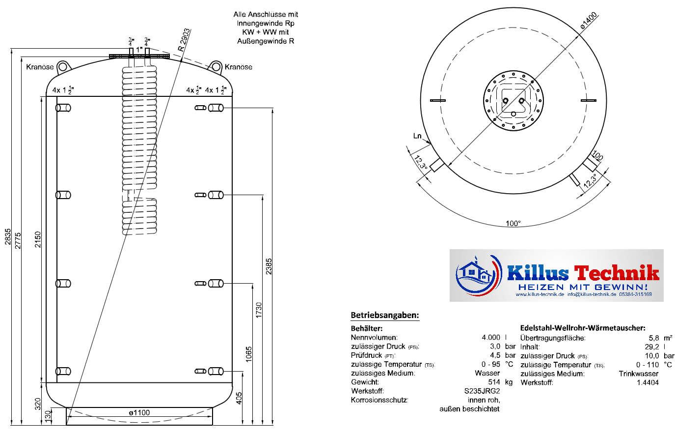 TWL Hygienespeicher mit Edelstahl-Wärmetauscher zur Frischwasser-Erwärmung ohne zusätzlichen Wärmetauscher Killus-Technik.de