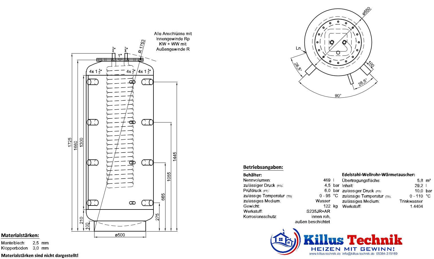 TWL Hygienespeicher mit 90 Grad Anschlüsse Killus-Technik.de
