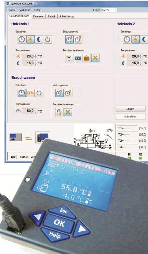 KMS-D universal Heizungsregler Bedienprogramm USB Killus-Technik.de