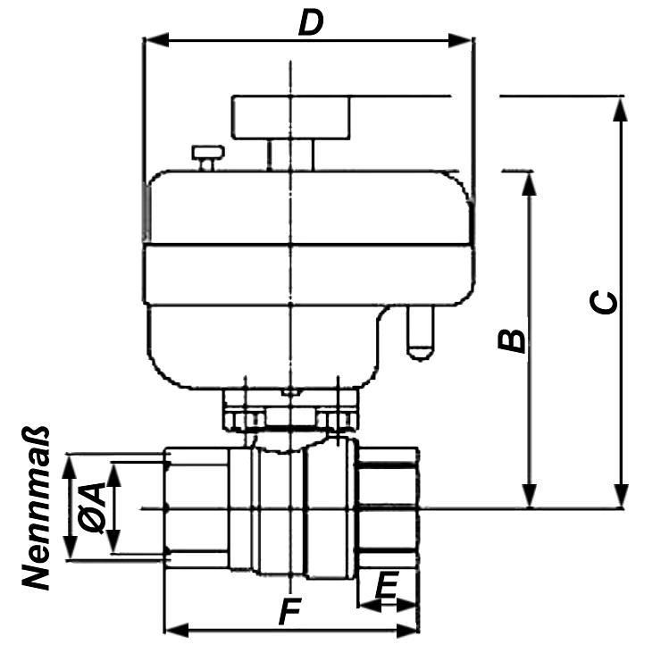 Motorkugelhahn 2-Wege Einbaumae Killus-Technik.de