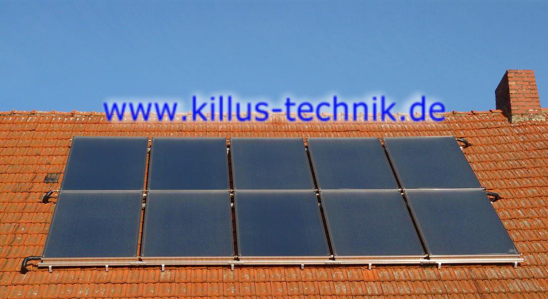 Flachkollektoranlage eines Kunden 10 Kollektoren Killus-Technik.de