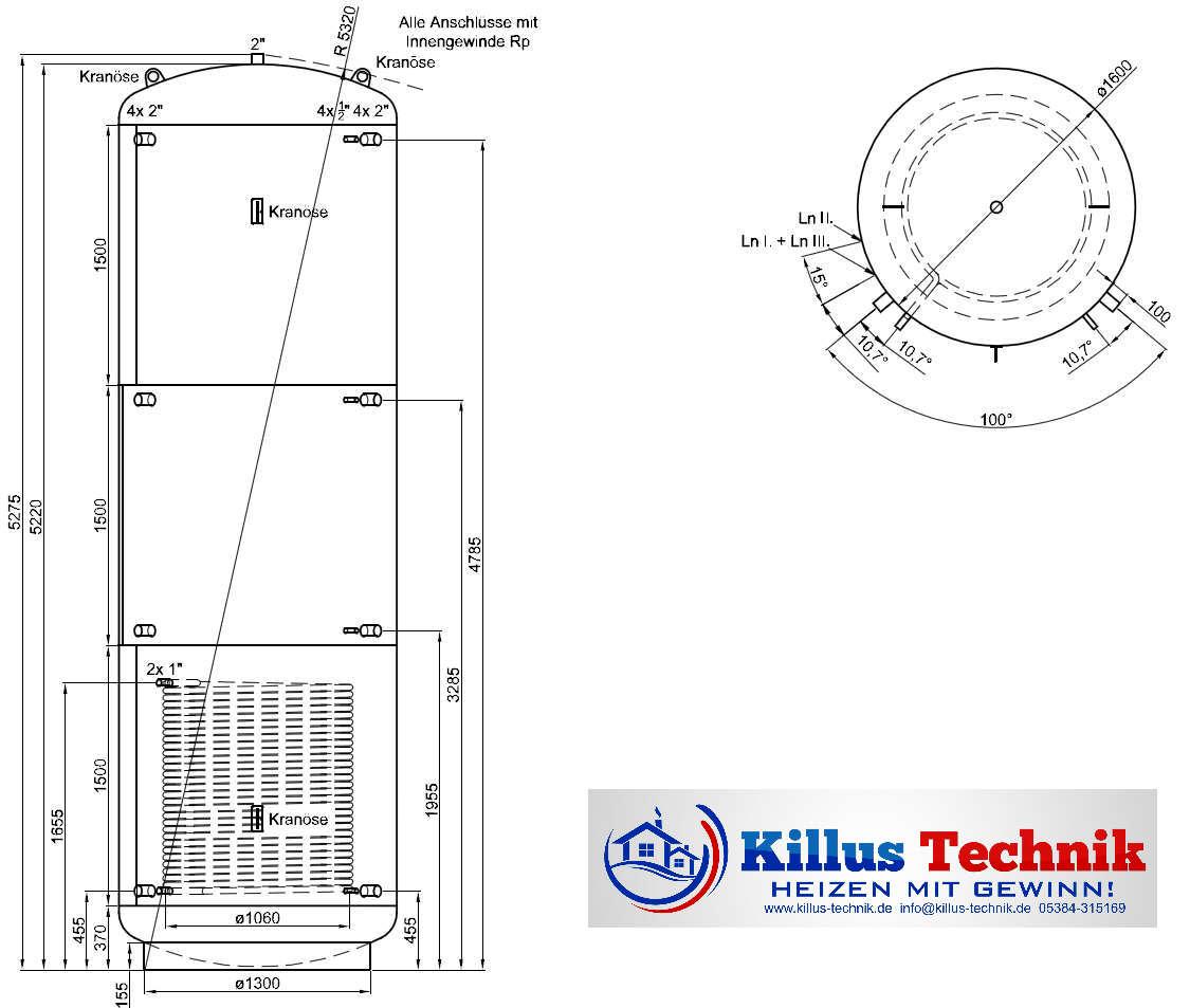 Pufferspeicher TWL 10.000 Liter 1 Wärmetauscher Muffenanodrnung von 100 Grad Draufsicht Killus-Technik.de