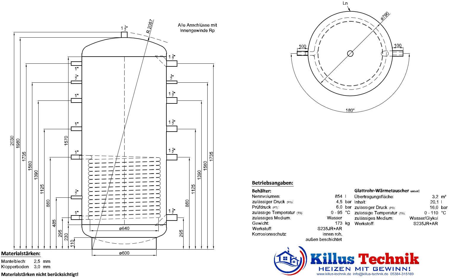 Pufferspeicher TWL 1000 Liter 1 Wärmetauscher Muffenanodrnung von 100 Grad Draufsicht Killus-Technik.de