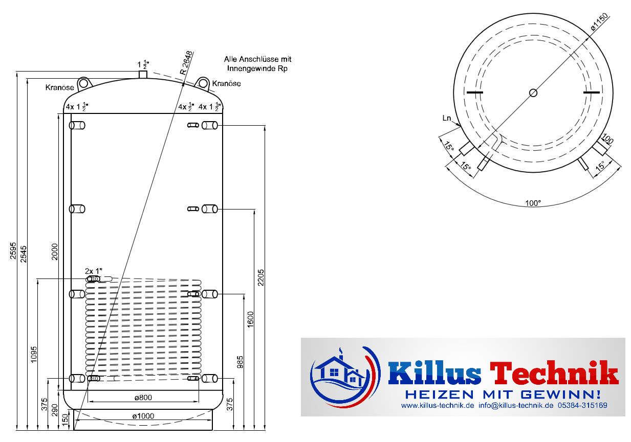 Pufferspeicher 2500 Liter mit einem Wärmetauscher Muffenanodrnung von 100 Grad Draufsicht Killus-Technik.de