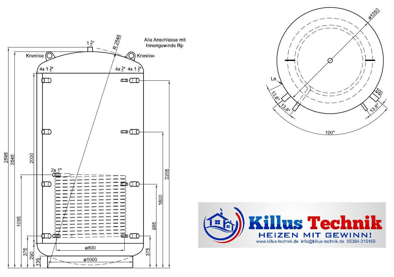 Pufferspeicher 3000 Liter mit einem Wärmetauscher Muffenanodrnung von 100 Grad Draufsicht Killus-Technik.de