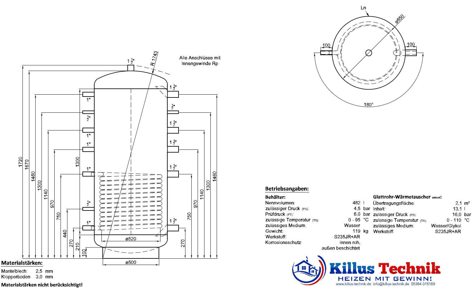 Pufferspeicher TWL 1 Wärmetauscher Muffenanodrnung von 100 Grad Draufsicht Killus-Technik.de