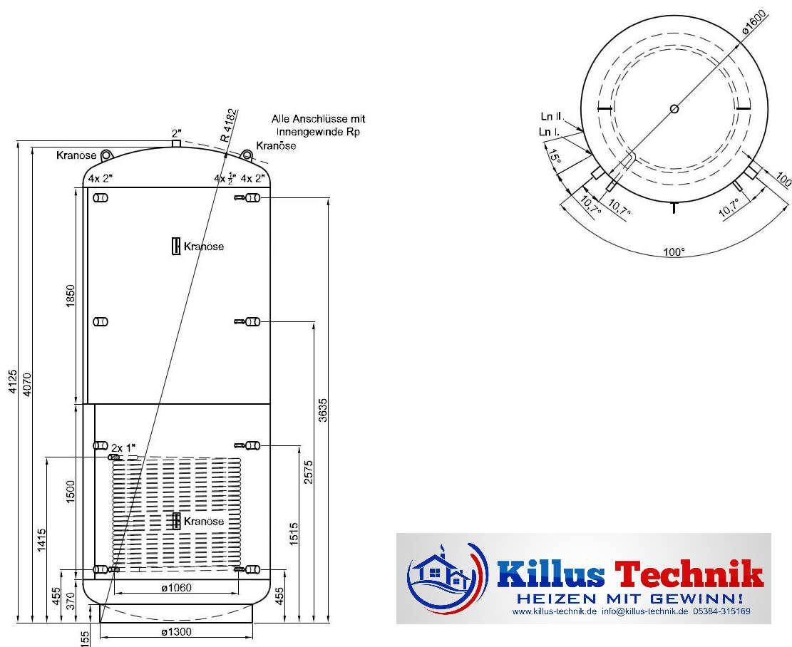 Pufferspeicher TWL 7500 Liter 1 Wärmetauscher Muffenanodrnung von 100 Grad Draufsicht Killus-Technik.de