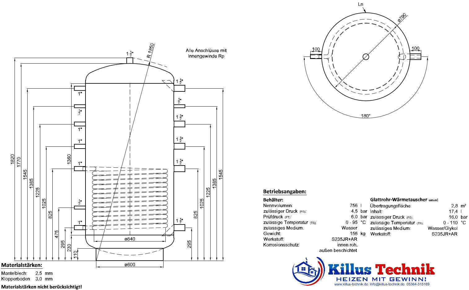Pufferspeicher TWL 800 Liter 1 Wärmetauscher Muffenanodrnung von 100 Grad Draufsicht Killus-Technik.de