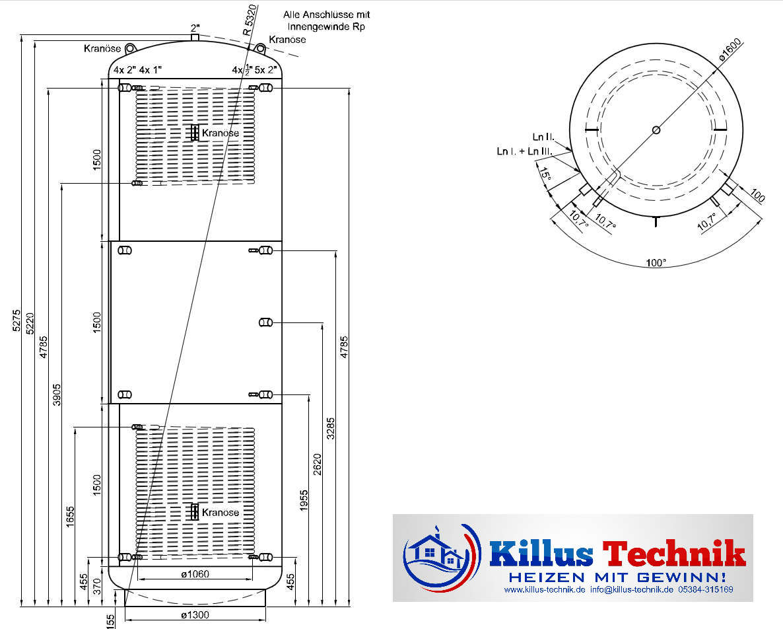 TWL Pufferspeicher 10.000 Liter 2 Wärmetauscher Muffenanodrnung von 100 Grad Draufsicht Killus-Technik.de