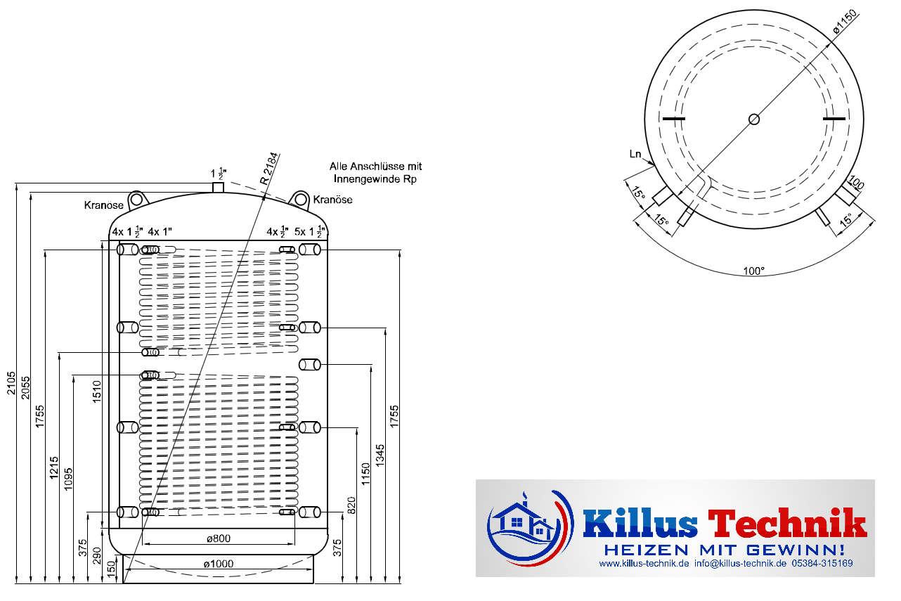 Pufferspeicher TWL 2000 2 Wärmetauscher Muffenanodrnung von 100 Grad Draufsicht Killus-Technik.de