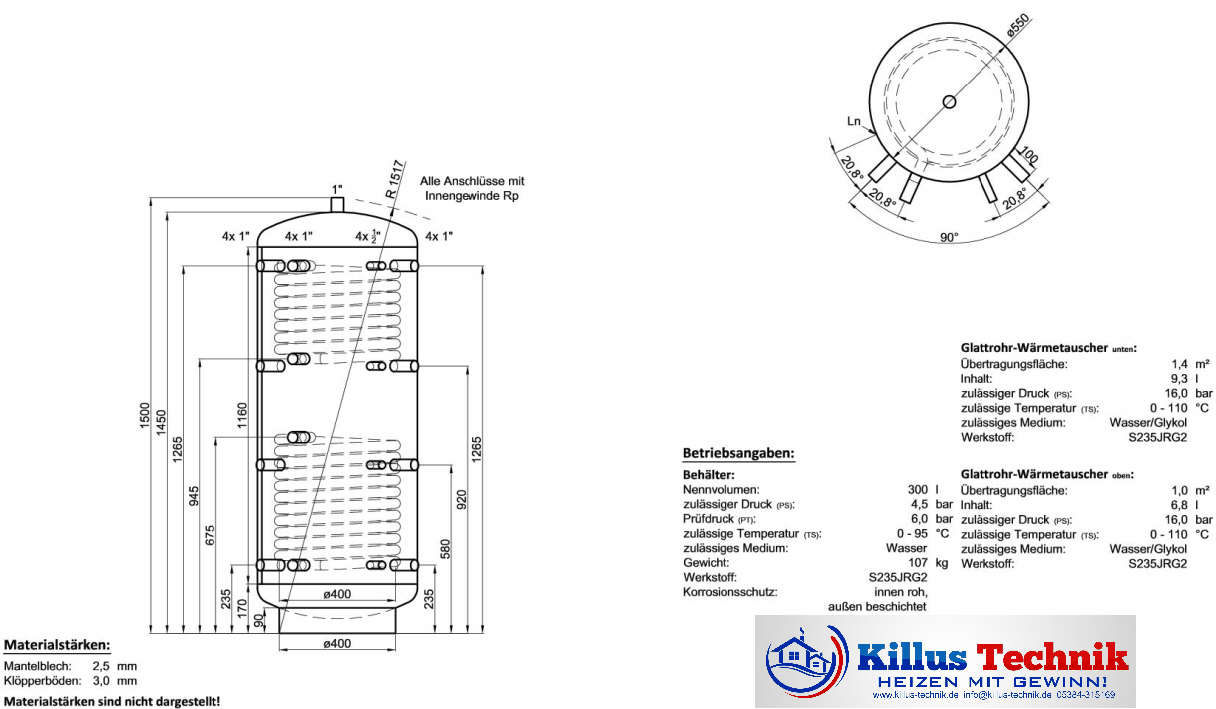 Pufferspeicher TWL 2 Wärmetauscher 300 Liter Killus-Technik.de