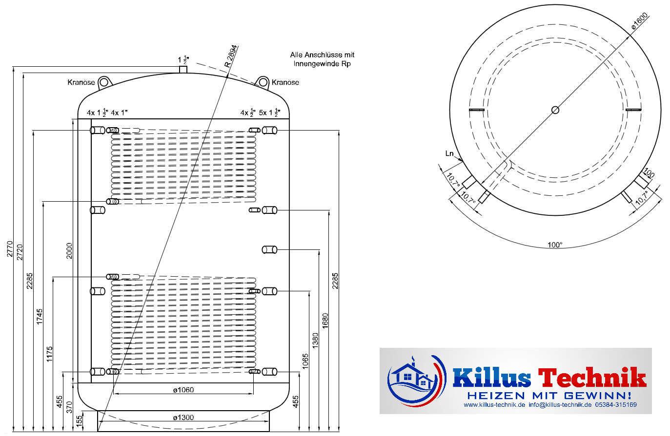 Pufferspeicher TWL 5000 Liter 2 Wärmetauscher Muffenanodrnung von 100 Grad Draufsicht Killus-Technik.de