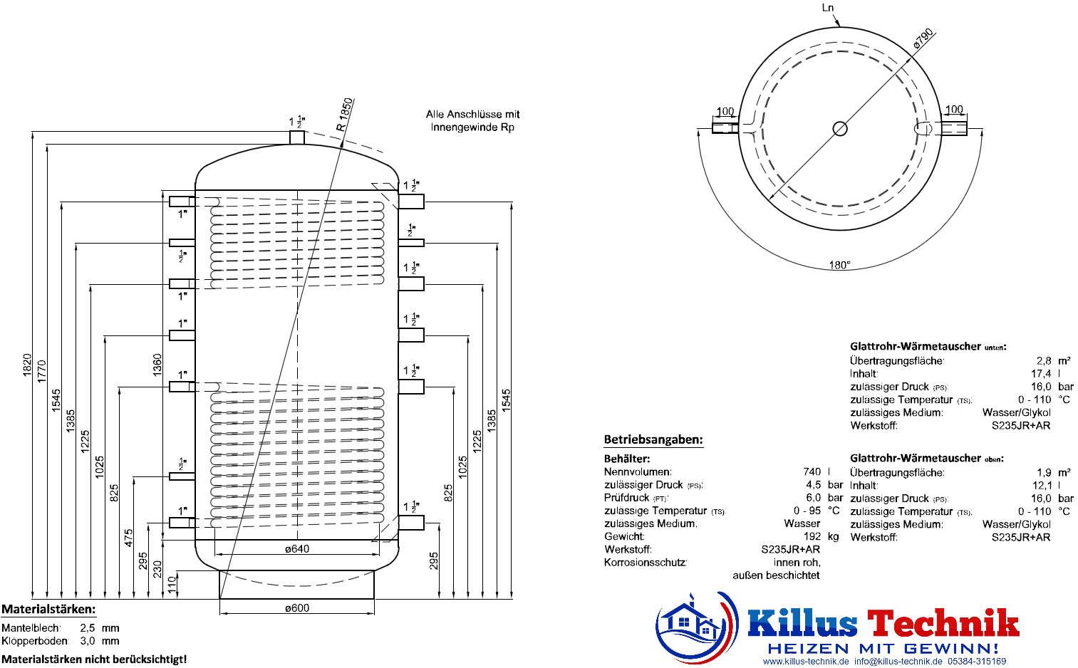 Pufferspeicher 2 Wärmetauscher TWL Muffenanodrnung von 100 Grad Draufsicht Killus-Technik.de