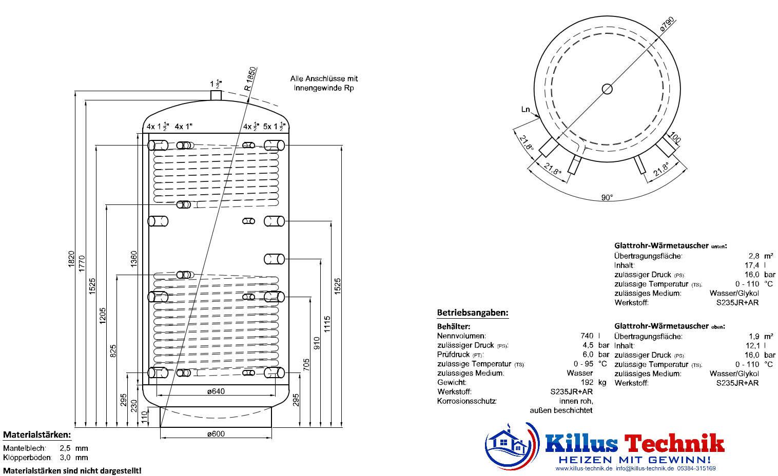 Pufferspeicher 2 Wärmetauscher TWL Killus-Technik.de