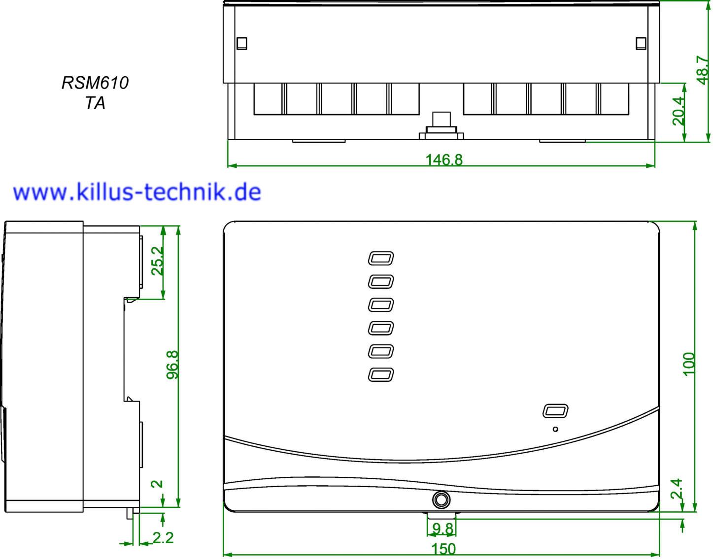 Frei programmierbares Regel- und Schaltmodul RSM610 Abmessungen TA Technische Alternative Killus-Technik.de