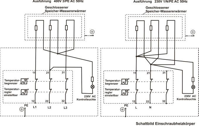 Schaltbild Einschubheizkörper DEW-Durchlauferhitzer für PV-Anlagen Killus-Technik.de