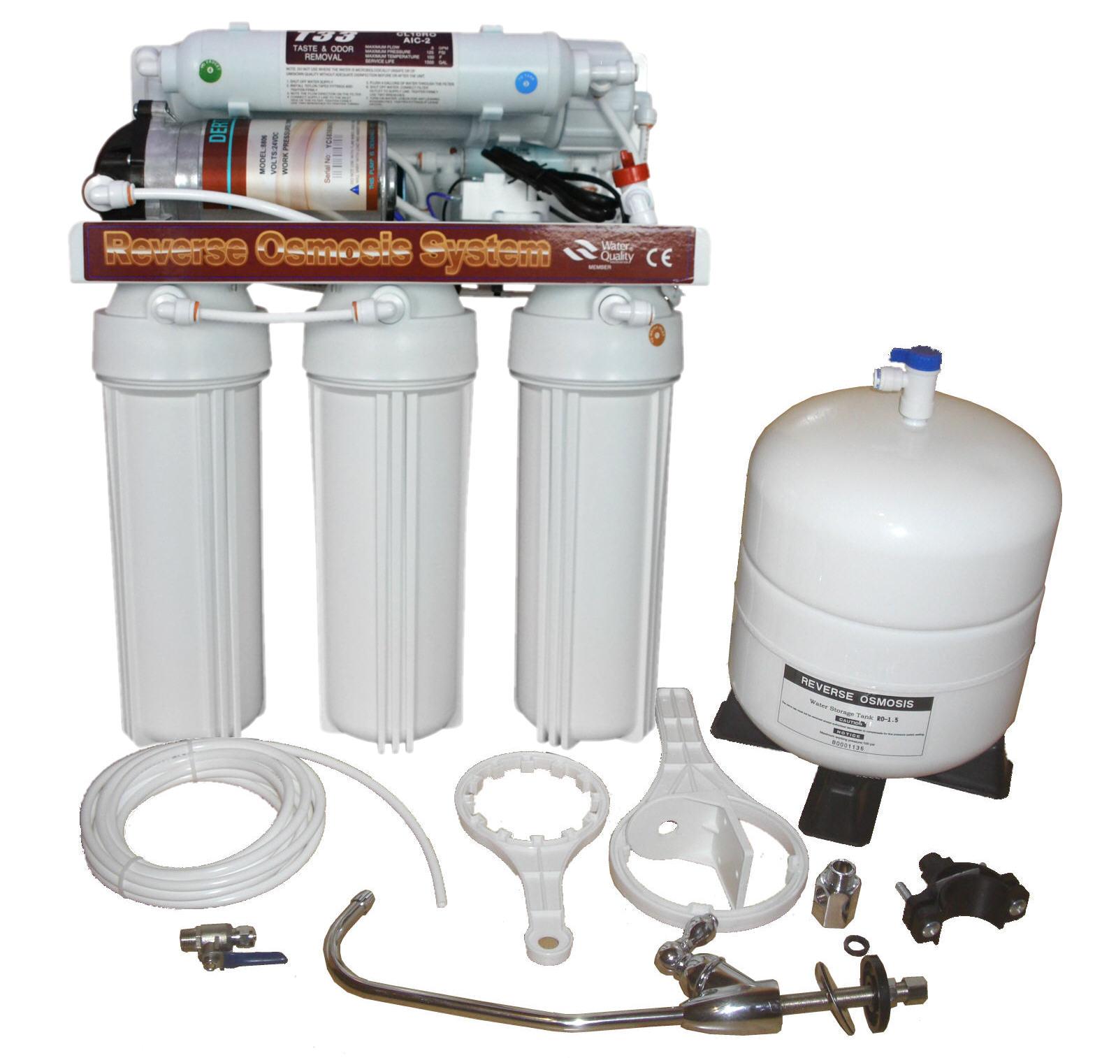 Standard Umkehrosmose Filteranlage mit Pumpe und Tank 190 Liter/Tag Killus-Technik.de