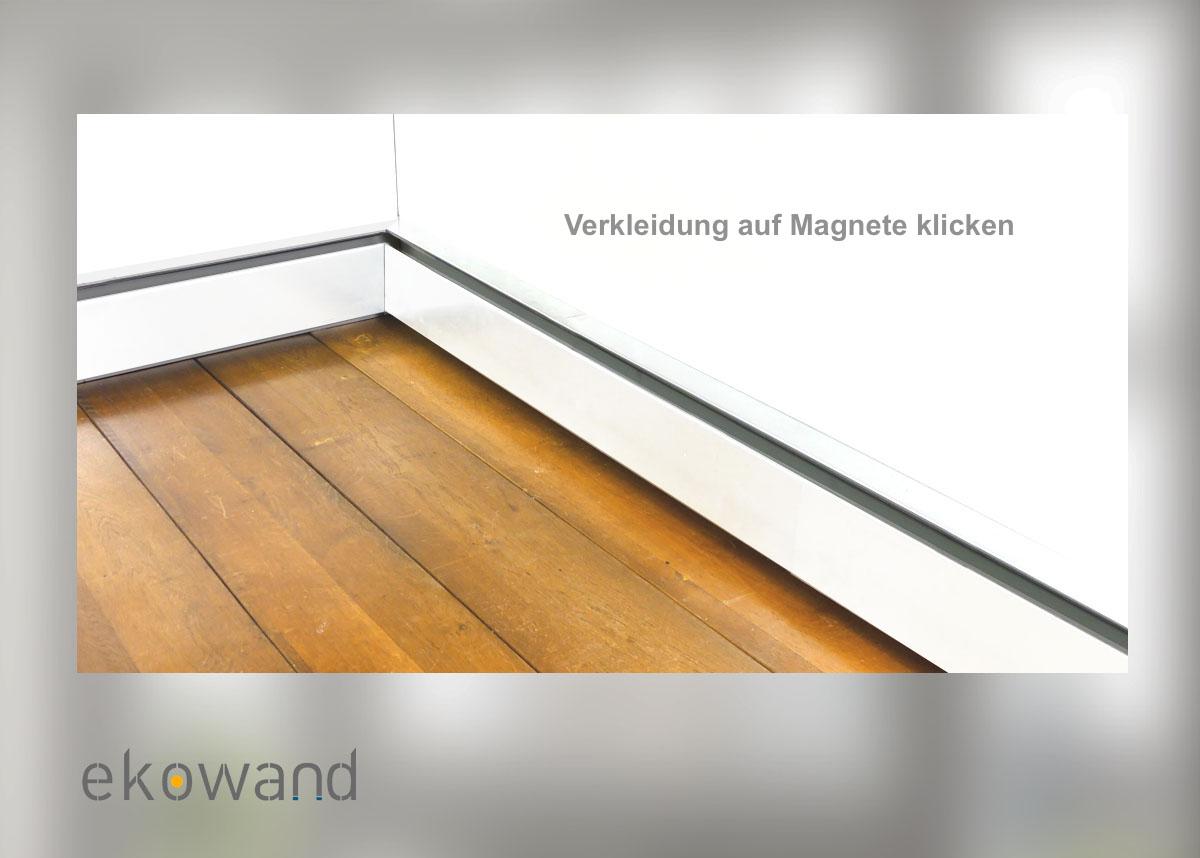 Ekowand Heizleisten für bestes Wohnklima und Heizkosten sparen Killus-Technik.de Montage Heizleisten Verkleidung auf Magnete Klicken
